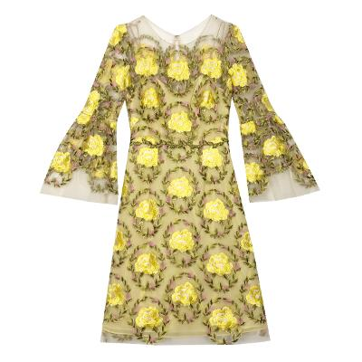 see through embroidery dress yellow